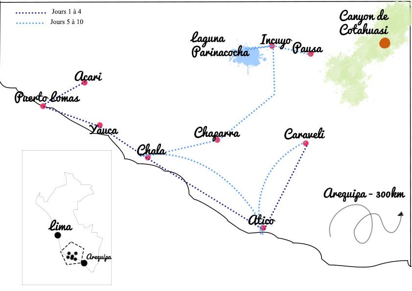 carte road trip au Pérou région Arequipa