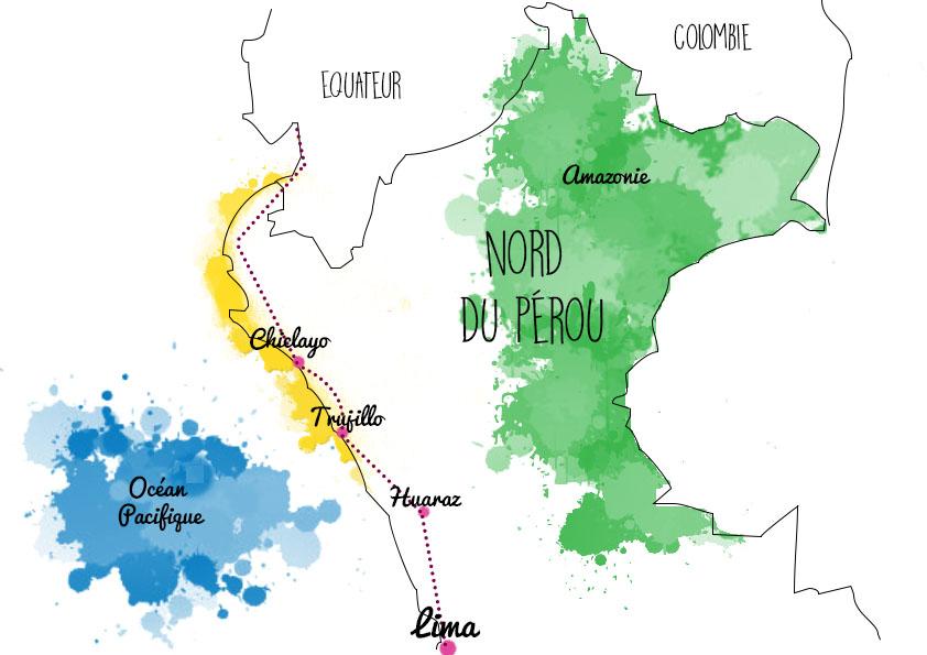 idée d'itinéraire au nord du pérou - carte
